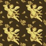Naadloos patroon met cherubijnen Stock Fotografie