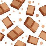 Naadloos patroon met chocostukken Stock Foto's