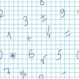 Naadloos patroon met cijfers in een notitieboekje in een kooi Het kan voor prestaties van het ontwerpwerk noodzakelijk zijn royalty-vrije illustratie