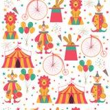 Naadloos patroon met circussymbolen stock illustratie