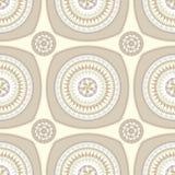 Naadloos patroon met cirkelornament in beige Royalty-vrije Stock Afbeelding