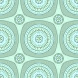Naadloos patroon met cirkelornament in marien blauw Stock Afbeeldingen