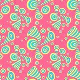 Naadloos patroon met cirkels van de krabbel de abstracte misvorming in geel blauw op roze stock illustratie