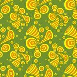 Naadloos patroon met cirkels van de krabbel de abstracte misvorming in geeloranje op olijf royalty-vrije illustratie