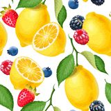 Naadloos patroon met citroenen Royalty-vrije Stock Afbeeldingen