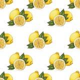Naadloos patroon met citroenen Stock Afbeeldingen