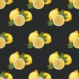 Naadloos patroon met citroenen op donkere achtergrond Royalty-vrije Stock Fotografie