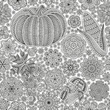 Naadloos patroon met creatieve groenten en bloemen, decoratieve bloemenachtergrond vector illustratie