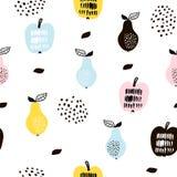 Naadloos patroon met creatieve moderne vruchten Hand getrokken in achtergrond Groot voor stof en textiel Vector illustratie royalty-vrije illustratie