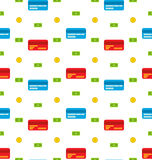 Naadloos Patroon met creditcards, Bankbiljetten, Muntstukken, Vlakke Financiënpictogrammen Stock Afbeelding