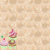 Naadloos patroon met cupcake vector illustratie