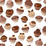 Naadloos patroon met cupcakes Stock Foto