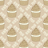 Naadloos patroon met cupcakes Stock Afbeeldingen