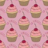 Naadloos patroon met cupcakes Royalty-vrije Stock Afbeeldingen