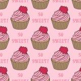 Naadloos patroon met cupcakes Stock Fotografie