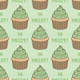 Naadloos patroon met cupcakes Stock Afbeelding