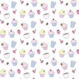 Naadloos patroon met cupckaes stock illustratie