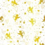 Naadloos patroon met cupido's en hartenvector stock illustratie