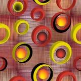 Naadloos patroon met 3d ringen op grunge gestreepte en geruite kleurrijke achtergrond Stock Afbeelding