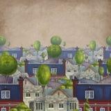Naadloos patroon met daken van huizen Oude fabelachtige Engelse stad Boekillustratie royalty-vrije illustratie