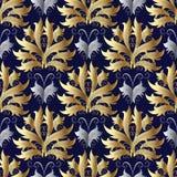 Naadloos patroon met damastbloemen vector illustratie
