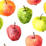 Naadloos patroon met de appelen van de waterverftekening Stock Afbeelding