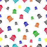 Naadloos patroon met de bankbouw Stock Afbeelding