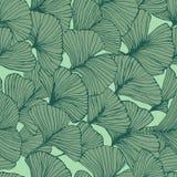 Naadloos patroon met de bladeren van ginkgobiloba, de geweven hand getrokken aders van het overzichtsblad vector illustratie