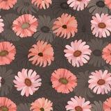 Naadloos patroon met de bloemen van het gerberakoraal op een donkere achtergrond Vector vector illustratie