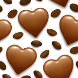 Naadloos patroon met de bonbon en de koffiebonen van het chocoladehart vector illustratie