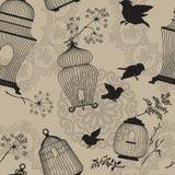 Naadloos patroon met de decoratieve zwarte Silhouetten van de vogelkooi, FL stock illustratie