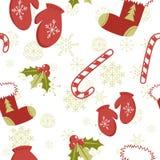 Naadloos patroon met de elementen van Kerstmis Stock Afbeelding