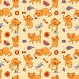Naadloos patroon met de gelukkige het spelen rode katten Stock Foto