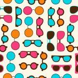 Naadloos patroon met de glazen van de kleurenzon Stock Afbeeldingen
