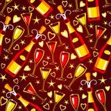 Naadloos patroon met de glazen van het flesseneind Royalty-vrije Stock Afbeelding