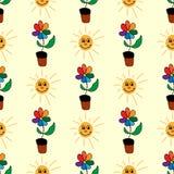Naadloos patroon met met de hand getrokken bloemen en het glimlachen zonnen Leuke druk voor jonge geitjes Vector illustratie royalty-vrije stock foto