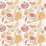 Naadloos patroon met de hand getrokken elementen van het ontbijtvoedsel Stock Foto