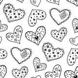 Naadloos patroon met de hand getrokken harten van de inktkrabbel Royalty-vrije Stock Afbeeldingen