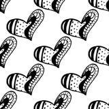 Naadloos patroon met de hand getrokken harten van de inktkrabbel Royalty-vrije Stock Foto