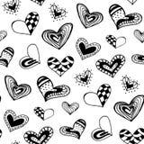 Naadloos patroon met de hand getrokken harten van de inktkrabbel Stock Afbeeldingen