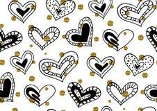 Naadloos patroon met de hand getrokken harten van de inktkrabbel Royalty-vrije Stock Foto's