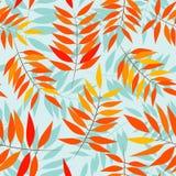 Naadloos patroon met de herfstbladeren op blauwe achtergrond royalty-vrije illustratie