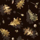 Naadloos patroon met de herfstbladeren van eik en eikels Hand getrokken illustratie met kleurpotloden stock foto