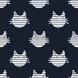 Naadloos Patroon met de Hoofden van de Beeldverhaalkat ` s Stock Afbeelding