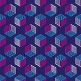 Naadloos patroon met de isometrische kubussen van de lijnstijl Royalty-vrije Stock Foto