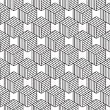 Naadloos patroon met de isometrische kubussen van de lijnstijl Royalty-vrije Stock Afbeelding