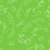 Naadloos patroon met de kat van de krabbelslaap Stock Afbeelding