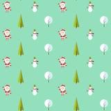 Naadloos patroon met de Kerstman, Kerstmisboom, sneeuwman en boom onder de sneeuw Achtergrond voor uitnodiging, affiche vector illustratie