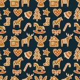Naadloos patroon met de koekjes van de Kerstmispeperkoek - Kerstmisboom, suikergoedriet, engel, klok, sok, peperkoekmensen, ster, Stock Foto's