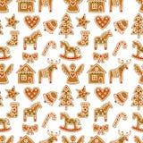 Naadloos patroon met de koekjes van de Kerstmispeperkoek - Kerstmisboom, suikergoedriet, engel, klok, sok, peperkoekmensen, ster, Royalty-vrije Stock Afbeeldingen